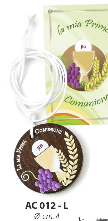 - AC012-L CIONDOLO LEGNO TONDO COMUNIONE 4 CM -