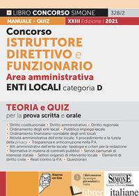 CONCORSO ISTRUTTORE DIRETTIVO E FUNZIONARIO NEGLI ENTI LOCALI. AREA AMMINISTRATI - 328/2