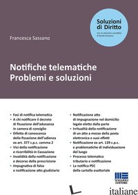 NOTIFICHE TELEMATICHE. PROBLEMI E SOLUZIONI - SASSANO FRANCESCA