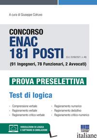 CONCORSO ENAC 181 POSTI (G.U. 22/06/2021, N. 49) (91 INGEGNERI, 78 FUNZIONARI, 2 - COTRUVO G. (CUR.)