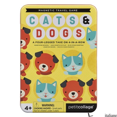 Cats + Dogs Four-in-a-Row Magnetic Travel Game - PETITCOLLAGE
