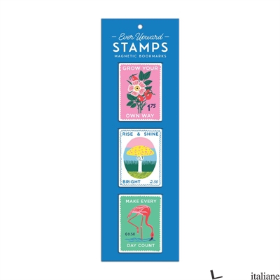 Ever Upward Stamps Shaped Magnetic Bookmarks - Galison, by (artist) Emily Taylor