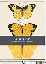 Butterfly Notebook Set - 3 A5 lined notebooks with stitched spines -