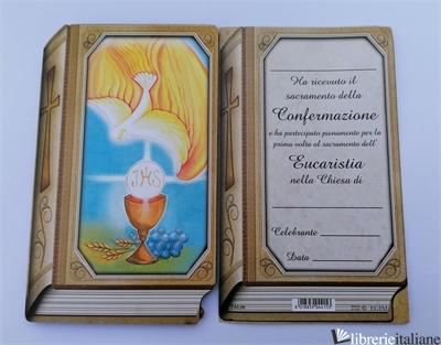 TAVOLETTA LIBRO  COMUNIONE E CRESIMA  CON PERGAMENA CM 8X13 -