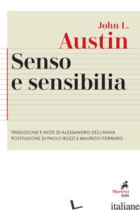 SENSO E SENSIBILIA - AUSTIN JOHN LANGSHAW; WARNOCK G. J. (CUR.)