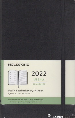 12 MONTHS, WEEKLY NOTEBOOK. LARGE, HARD COVER, BLACK -