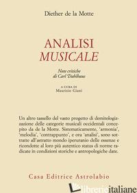 ANALISI MUSICALE - LA MOTTE DIETHER DE; DAHLHAUS C. (CUR.)